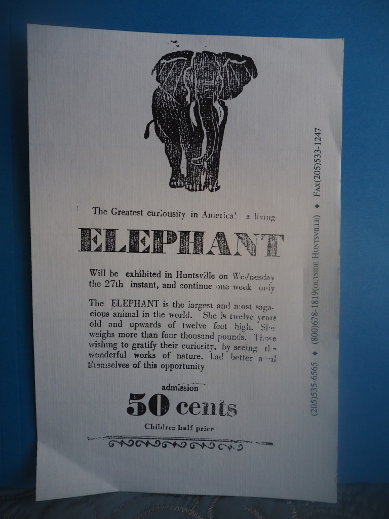 Ad for elephant on display in Alabama frontier in 1810 before roads and cities. by Jennie Helderman
