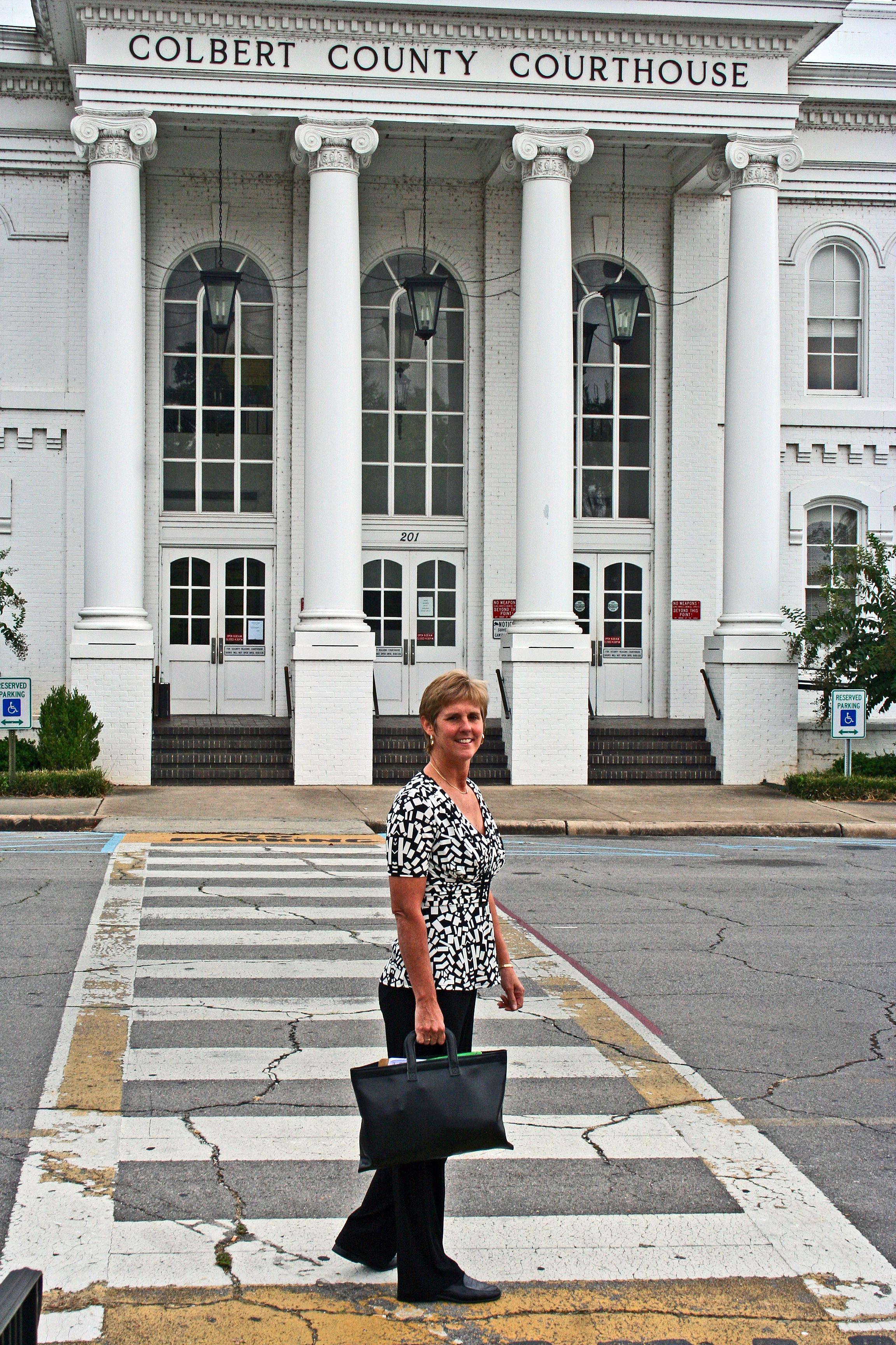 Ginger at courthouse.